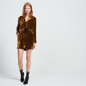 NEW SANDRO PARIS PYJAMA-INSPIRED VELVET DRESS